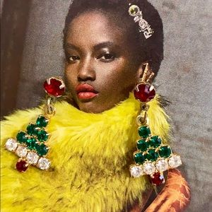 Vintage Rhinestone Christmas tree earrings